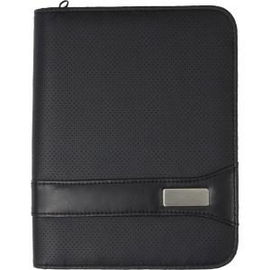 Conférencier A5 zippé en PVC livré avec bloc-notes, sans stylo - couleur : noir Ref. LCA04786