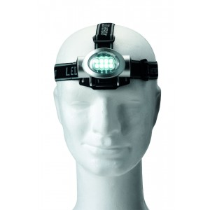 Lampe frontale en plastique munie de 8 LEDS blanches, piles incluses. - couleur : silver