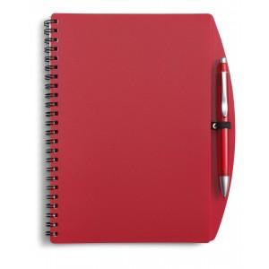 Carnet à spirale en PVC souple de format A5 contenant 70 feuillets de 70g, livré avec un stylo bille en plastique, mine bleue. - couleur : rouge Ref. LCA041529