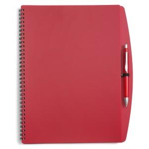 Carnet à spirale en PVC souple de format A4 contenant 70 feuillets de 70g, livré avec un stylo bille en plastique, mine bleue. - couleur : rouge Ref. LCA041534