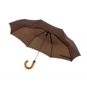 """Parapluie pliable homme """"Lord"""": 3pcs, métal + fibre de verre, poignée bois, polyester pongée, hydrofuge,  fermeture velcro Ref. LCA0551"""