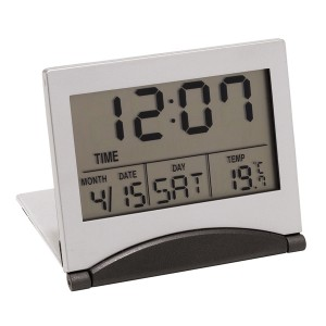 """Réveil de voyage LCD """"Aster"""", avec thermomètre et affichage de la date Ref. LCA05555"""