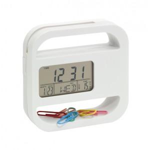 """Horloge digitale """"Helpdesk"""": alarme, heure, date, Affichage de la température + semaines, fonction aimantée + pied, 5 trombones incl. Ref. LCA05561"""