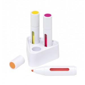 "Set surligneur ""Triple Star"": support stylos, 3 surligneurs (rose, jaune, orange) Ref. LCA051883"