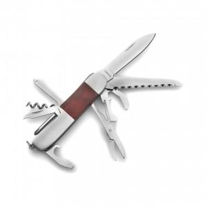 Canif en bois et métal comprenant 8 fonctions. - couleur : brun Ref. LCA042415