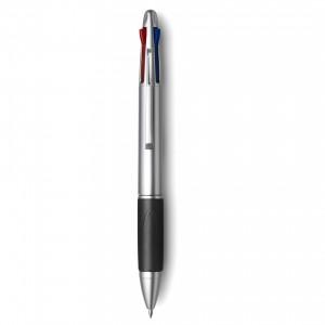 Stylo bille en plastique avec embase en gomme muni de 4 mines rouge, noire, verte et bleue. - couleur : noir Ref. LCA042552