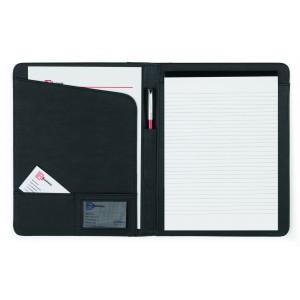 Conférencier A4 en cuir reconstitué (synderme) livré avec bloc-notes, sans stylo. - couleur : noir Ref. LCA042635