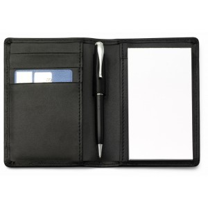 Etui bloc-notes en cuir reconstitué (synderme) comprenant 50 feuillets et un stylo, mine bleue. - couleur : noir Ref. LCA042640