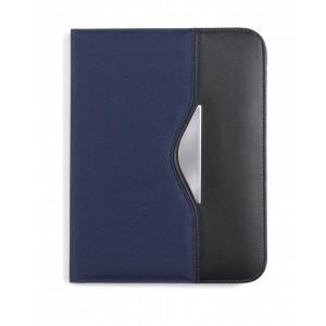 Conférencier A5 en polyester 600D et cuir reconstitué (synderme) avec bloc-notes, sans stylo. - couleur : bleu Ref. LCA042646
