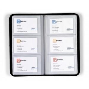 Etui porte-cartes en cuir reconstitué (synderme) d'une capacité de 72 cartes. - couleur : noir Ref. LCA042651