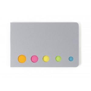 Pochette cartonnée contenant 100 marque-pages repositionnables dans 5 coloris différents. - couleur : silver