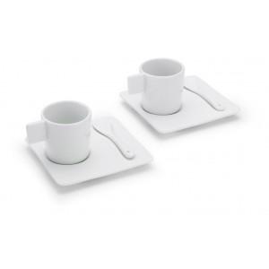 Set 2 tasses, sous-tasses et cuillères en céramique pour vous délecter d'un arabica. réf. LCA 0622 blanc