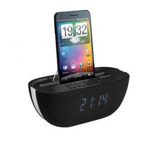 Radio-réveil Bluetooth, FM PLL tuner, grand affichage LED blanc, recherche automatique et affichage digital des fréquences, mémoire 20 stations présélectionnées, réveil par radio, buzzer ou votre Playlist, fonctions sleep et snooze, réglage de l'intensité