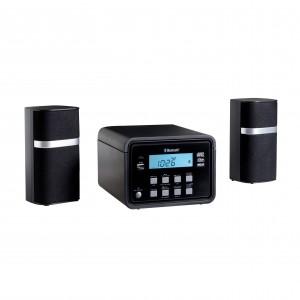 Chaîne Hi-Fi compacte, Bluetooth, lecteur CD, MP3, Radio FM PLL, port USB 2.0,affichage LCD, rétro-éclairage blanc, mémoire 20 stations, horloge, 2 alarmes, connecteur jack 3.5 mm: AUX-IN et casque, haut- parleur 2x2W, antenne FM  Ref. LCA0144