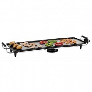 Plancha Teppan Yaki, gril électrique, grande plaque de cuisson : 70 x 23 cm, système de récupération des graisses, poignées isolantes 'cool- touch', thermostat réglable avec témoin de chauffe lumineux, nettoyage facile, élément chauffant amovible, 4 pieds