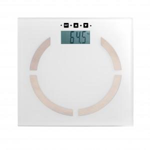Pèse-personne électronique, impédancemètre, boutons sensitifs, portée de 2 kg à 180 kg, plateau en verre, graduation 100g, mémoire 10 personnes, paramètres morphométriques, calcul du taux de masse corporelle de 5 à 50 % et calcul du taux de masse hydrique