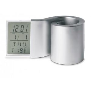 Horloge Fonctionne en forme de spirale. Support stylos, heure, date, et thermomètre. 2 piles AAA non fournies. réf. LCA 06301 argent
