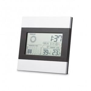 Cette station météo tendance noire et argent inclut une horloge, un affichage de la température et du taux d'humidité et un calendrier. 2 piles AAA non incluses. réf. LCA 06308 argenté mat