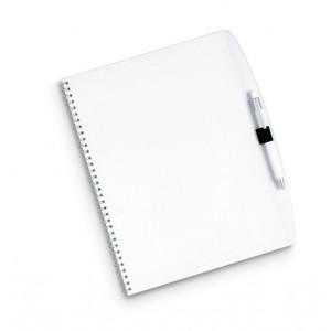 Bloc de papier à spirale A4 contenant 70 pages perforées. Couverture en PP. Stylo bille assorti inclus.réf LCA 06311 transparent