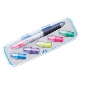 Surligneur à tête interchangeable avec 6 couleurs et un stylo bille twist 3 couleurs. Présentés dans une boîte en plastique et velours avec fermeture magnétique. réf. LCA 06390 multicolore