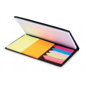 Set de mémos pratique incluant 1 grand bloc, 2 blocs rectangulaires colorés et 5 petits blocs colorés. réf. LCA 06830 noir