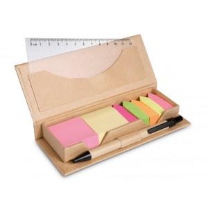 Boîte cartonnée contenant 2 blocs de feuillets repositionnables couleur, 5 blocs de marqueurs colorés, une règle en PP transparente et un stylo  bille cartonné (encre bleue). réf. LCA 061246 beige