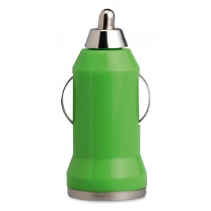 Chargeur voiture USB en ABS et alliage aluminium avec indicateur de charge par lùmière rouge. Livré dans une boîte en carton couleur argent.réf LCA 061423 vert citron