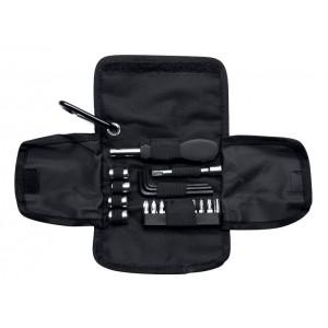 Jeu d'outils dans une trousse en PU contenant une clé à douille avec 4 têtes, une extension, une clé hexagonale en 3 tailles, et un tournevis avec 9 têtes interchangeables. réf. LCA 061599 noir