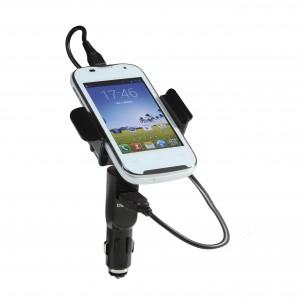 Support universel et chargeur téléphone mobile de voiture, réglable et modulable, il s'adapte parfaitement aux différentes tailles de vos appareils, rotation 360°, muni d'un adaptateur allume-cigare USB pour le chargement de votre appareil     Ref. LCA018