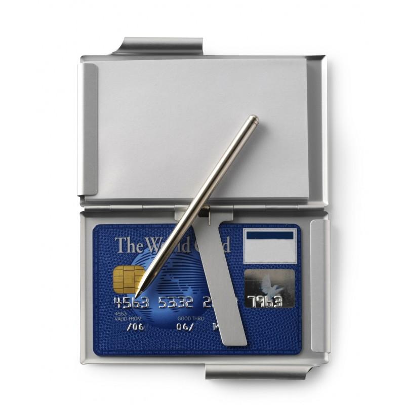 porte cartes de visite en aluminium avec bloc notes et stylo bille mine noir ecriture. Black Bedroom Furniture Sets. Home Design Ideas