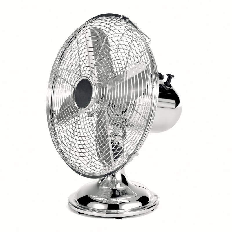 Ventilateur de table chrom 30 cm avec grille de protection 3 vitesses 4 pales en - Ventilateur de table silencieux ...